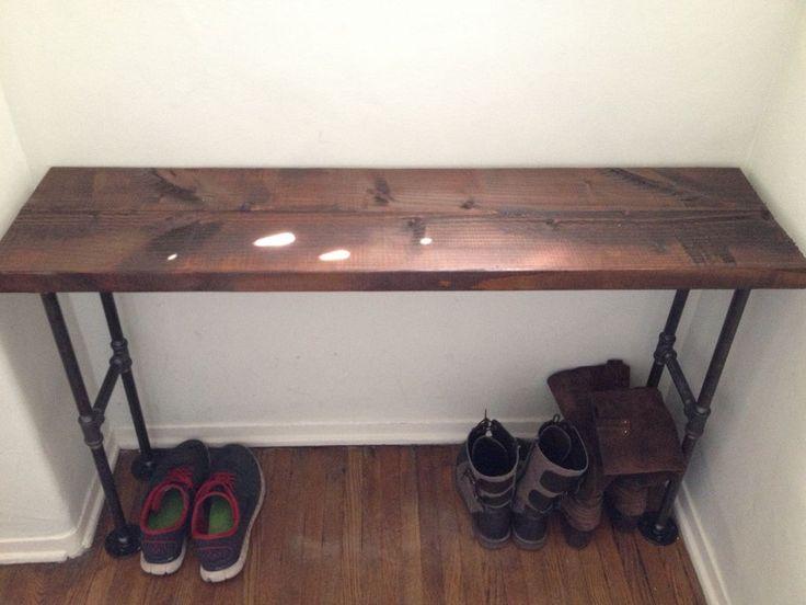 diy pallet iron pipe. Easy Modern Black Iron Pipe Bench / Entryway Table Diy Pallet E