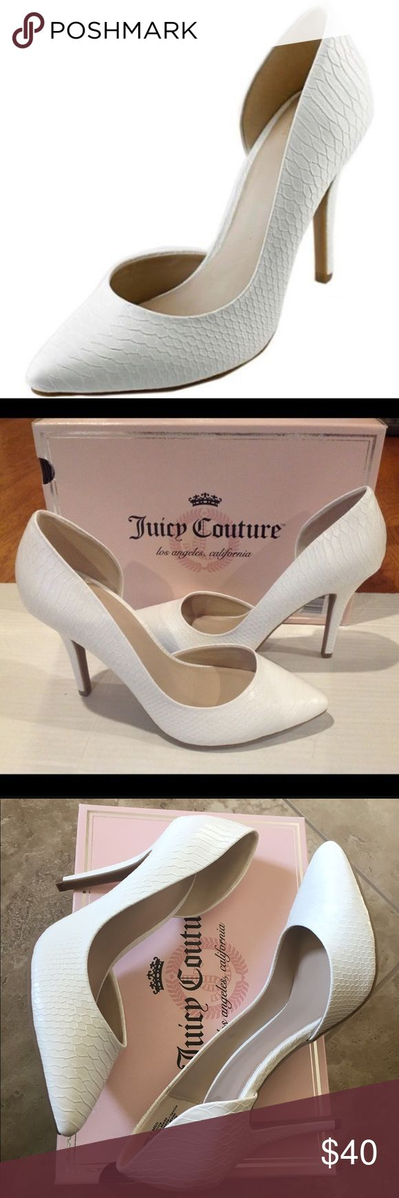 Juicy Couture Heels Dress to impress in these stylish women's Juicy Couture high heels. Faux-patent look. Pointed toe, Slip-on, lightly padded footbed 4-in. heel. Brand new in original box. Juicy Couture Shoes Heels