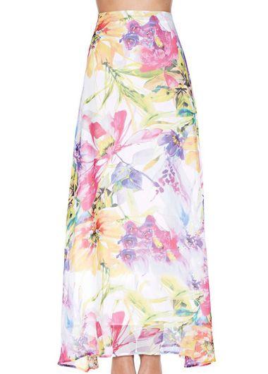 Slit Design Printed Skirt for Woman
