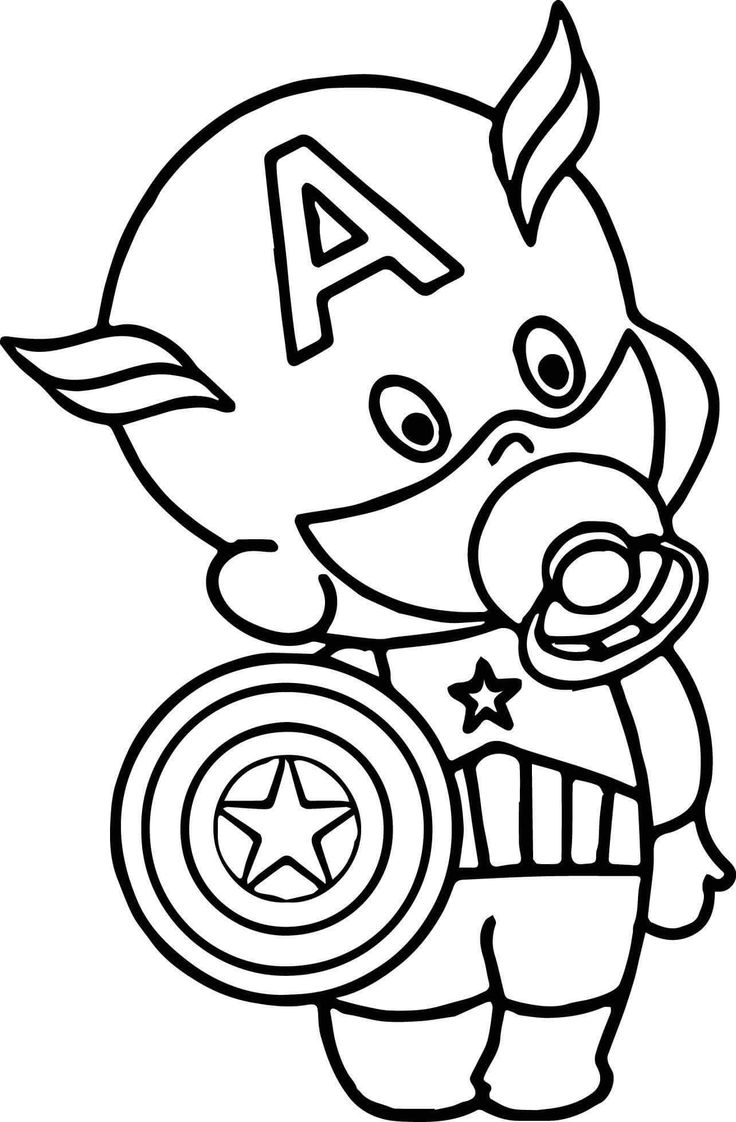 Baby Captain America Coloring Page In 2019