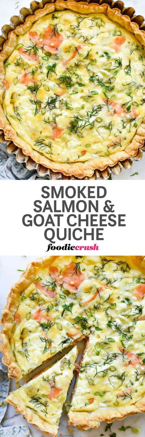 Thanks to a few staples you can keep in your fridge and freezer, this quick and simple quiche comes together fast thanks to a puff pastry crust filled with custard-ey eggs, smoked salmon, and crème fraîche or goat cheese. | foodiecrush.com