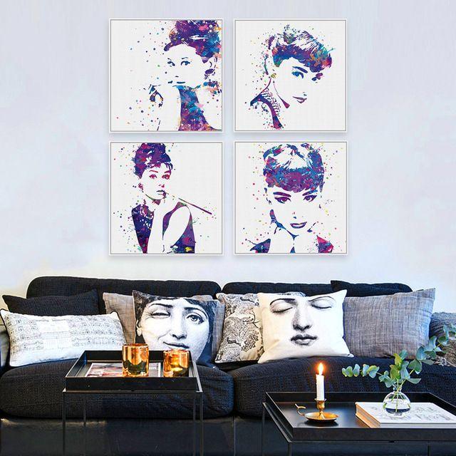 Acuarela Original de Audrey Hepburn Movie Poster Prints Abstract Girl Imagen Wall Art Living Room Decor Lienzo De Pintura Sin Marco