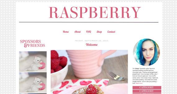 Blogger Template Raspberry with 3 columns by MintyFoxDesigns