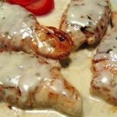 Sour Cream and Bacon Chicken for the Crockpot Recipe~family enjoyed with salad.  Tomorrow night leftovers but will service with noodles too. bacon slices 8boneless, skinless chicken breasts 2(10 oz) cans roasted garlic cream of mushroom soup 1cup sour cream ½cup flour (all purpose or gluten free blend) Salt and pepper to taste