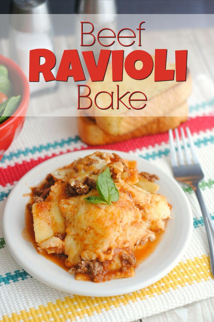 Beef Ravioli Bake requires no pre-cooking and it's freezer friendly! | 5DollarDinners.com