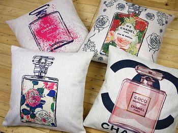 Cubierta de la almohadilla del amortiguador de la moda de lujo frasco de perfume floral creativo Graffiti algodón lino caso logotipo almohada sofá cubierta 45x45cm