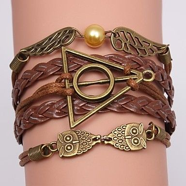 Multilayer Alloy Owl and Wings Charms Handmade Leather Bracelets(Assorted Colors) – USD $ 2.99