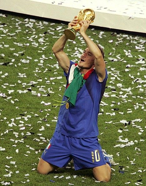 Totti celebrating after winning FIFA World Cup 2006