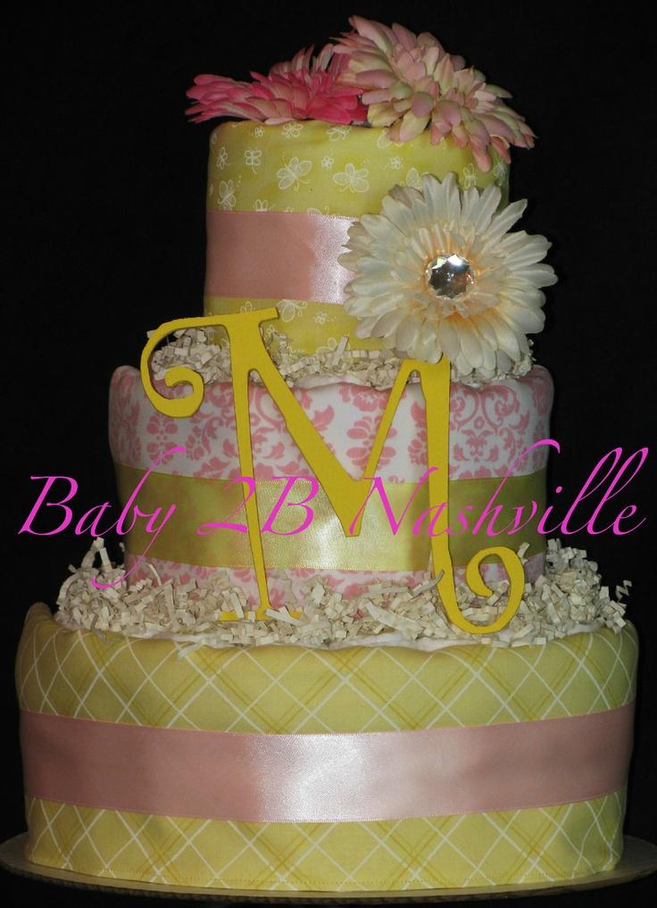 baby girl shower diaper cakes girls pink and yellow diaper cake baby