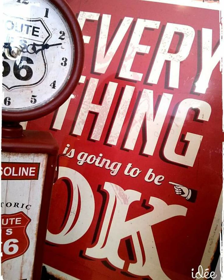 Decoration clock route 66,everything is going to be ok!