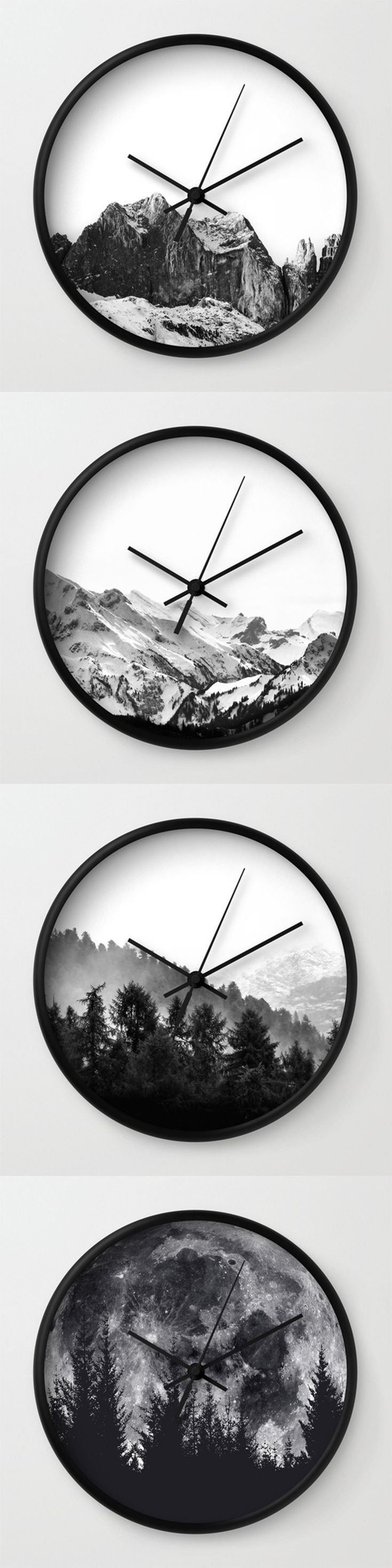 minimalist black and white wall clocks by neptune essentials on society6 home decor wall decor