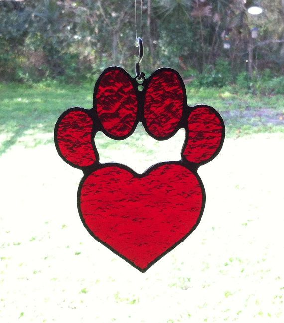 Red Textured Stained Glass Dog Paw Pad with by StainedGlassAndMore, $23.99