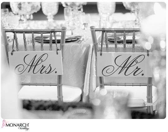 Mr. and Mrs. #Chair #signs for the back of the groom/bride chairs. Etsy.com   Planner/Designer {Monarch Weddings, LLC} www.monarchweddings.com