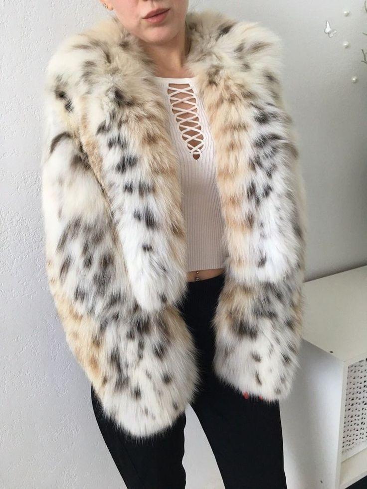 Dennis Basso Genuine Lynx White Spotted Fur Coat Jacket Bolero Size S/M #DennisBasso #BasicJacket