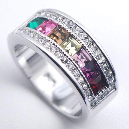 SIZE 11 Ladies Morganite Emerald Garnet Amethyst Pink Sapphire 925 Fine Ring $33 #BandStudded