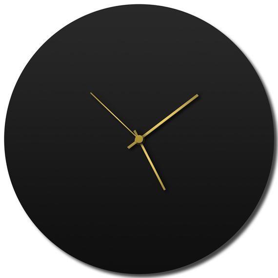 Blackout Circle Clock Contemporary Metal Wall Clocks Monochrome Modern Decor Contemporary Wall Clock Metal Wall Clock Contemporary Kitchen Decor