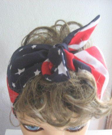 Tie Up Hair Bands 4th of July Fashion by CrochetnMoreByAlida, $10.00