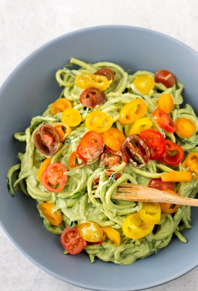 Zucchini Noodles with Avocado Sauce__ zucchini noodles (or zoodles), they're so healthy and delicious! You can use other veggies like cucumber, carrot or pumpkin.See Source!