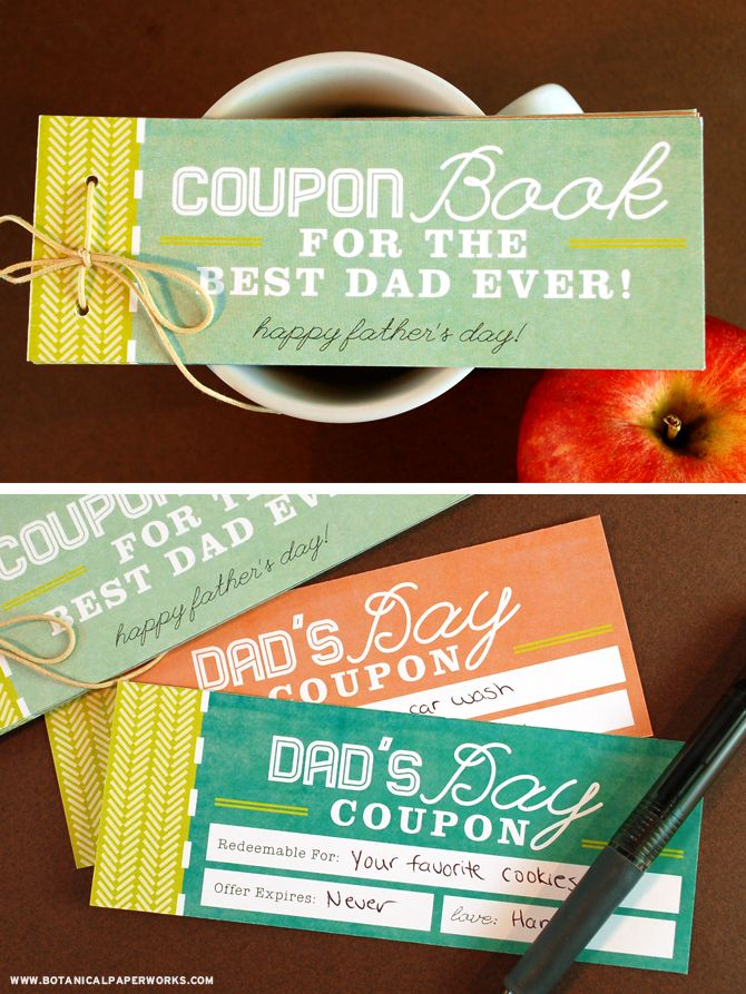 Leave this coupon book next to dad's morning coffee for an extra special surprise this Father's Day.