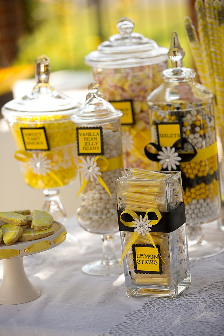Yellow and Black candy bar - could easily be yellow/grey, love the decor on the jars