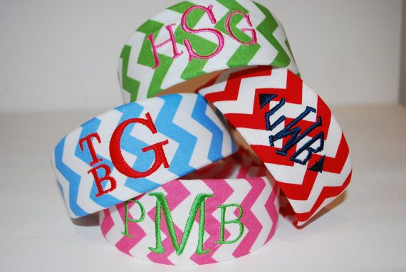 Monogram Name Chevron Fabric Headband $15  https://www.etsy.com/listing/155764436/embroidered-monogram-name-chevron-fabric?ref=shop_home_active