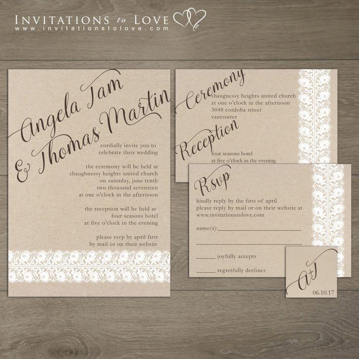 Printable Wedding Invitation, Custom Digital Wedding Invitation – Lace & Rustic Invitation with RSVP and Monogram – Happiness  Collection by InvitationsToLove on Etsy