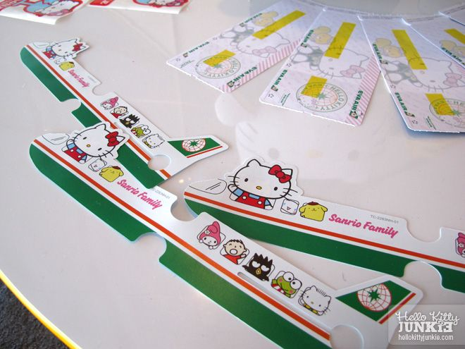 Hello Kitty plane tickets and luggage tags