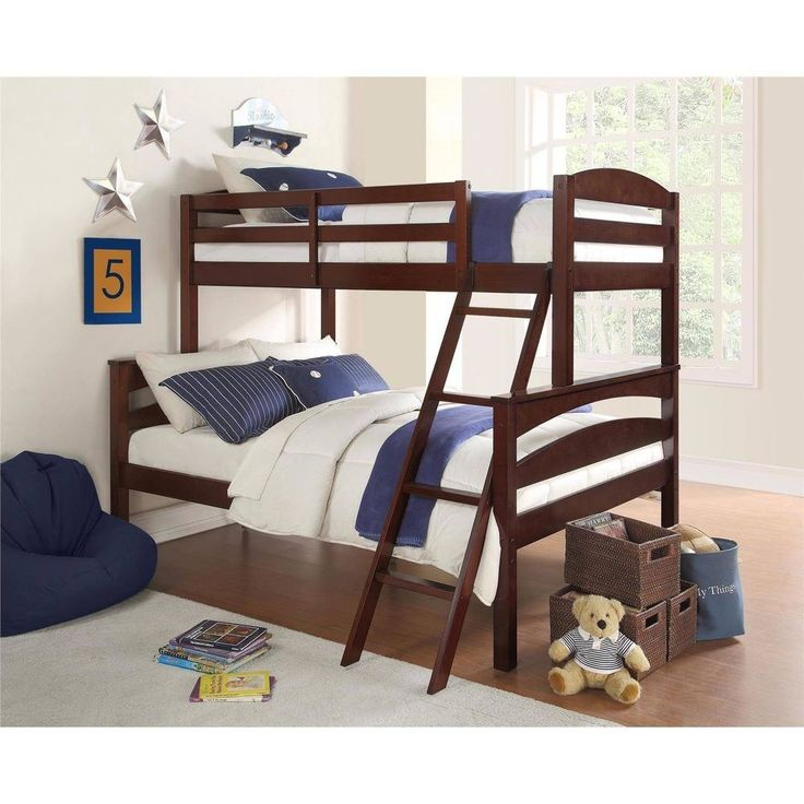 Kids Teen Bedroom Furniture Brown Twin-Over-Full Bunk Bed With Ladder Guardrails #BetterHomesandGardens