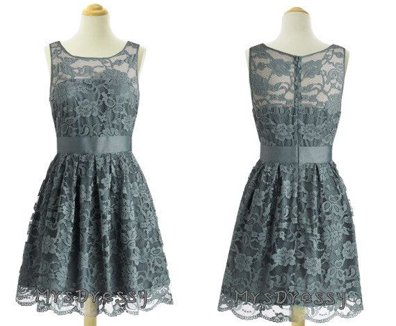 Smoke Grey Lace Bateau Neck Short 1960s Bridesmaid Dress