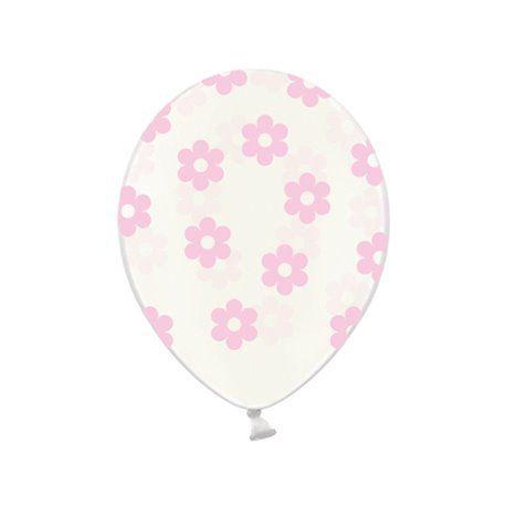 Ballonger - Klar med Blomster i Rosa - 6 stk