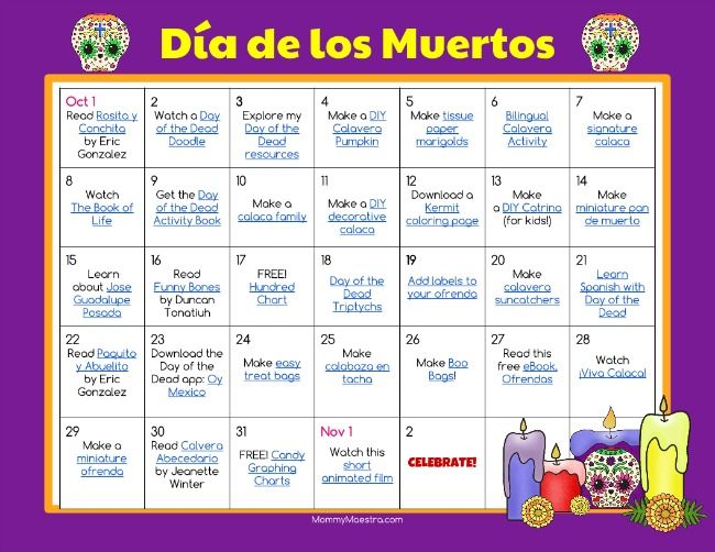 Day of the Dead Activity Calendar