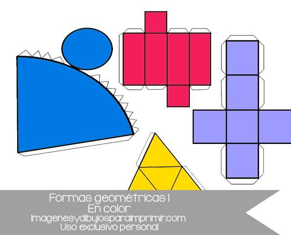 formas geométricas para imprimir, recortar y montar.las figuras geométricas están disponibles en blanco y negro a color. Figuras básicas cubo, cono, tetraedro, prisma #activities #kids #free #printables