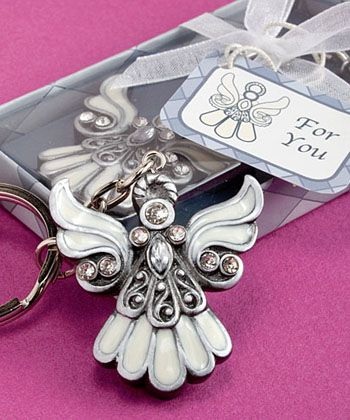 Angel Design Keychain Favors - The angel keychain favors are exquisite gifts for baby showers, baptisms or birthdays. All your guests will have a memento of your little angel with these unique baby favors. Each of the angel charms is made of poly resin with a pewter finish featuring intricate detailing in inlaid white enamel, glimmering rhinestones, swirls and bead accents. http://www.favorfavorbaby.com/p-6532.htm