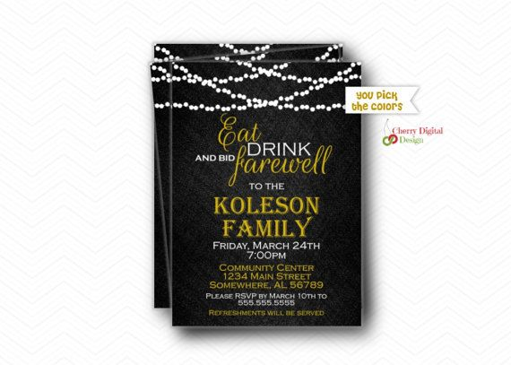 Evening Lights Going Away Party Invitations | Gold White Black Farewell Invite | Printed or Printable Retirement Party Invitation | Retiring