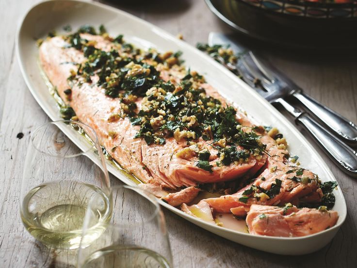 This beautiful baked salmon recipe was a must when Deborah Hutton was selecting recipes for her new book, 'Entertaining Made Easy'. After featuring it on The Australian Women's Weekly's TV Chistmas special, it has become a favourite on her Christmas table ever since.