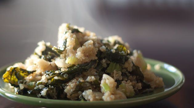 quinoa and kale pilaf from healthful pursuit