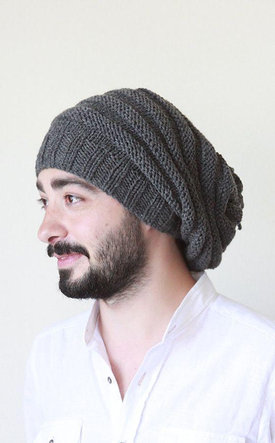 f7deaa38529 Men Slouchy beanie, Grey knit slouch beanie men, Hand knit men hat, Man winter  hat, Valentines day gift for him, Cozy up | KNIT/CROC IDEA`S | Winter hats,  ...