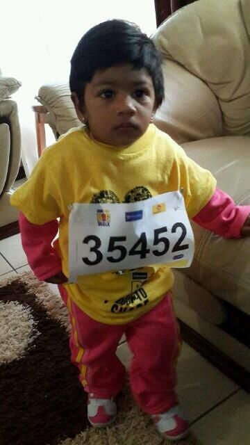@ecr9495 #BigWalkDurban   my first big walk... tag 35452... isabella Kannah (1 year old)