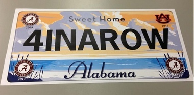 Celebrate four national titles in a row with Alabama Tourism Department. Stop by a welcome center or rest area in Alabama and look for FREE mini posters featuring a custom car tag '4INAROW.' Printing and delivery of posters to distribution points will start soon. They will also be available at the Gov Mansion Gift Shop in Montgomery, the tourism department office at 401 Adams Ave. in Montgomery and many tourism departments across the state this Friday 1-11-13…