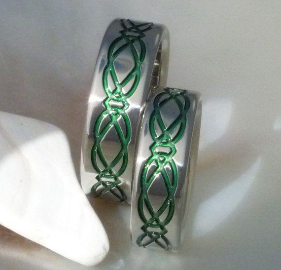 Irish Celtic Titanium Wedding Band Set