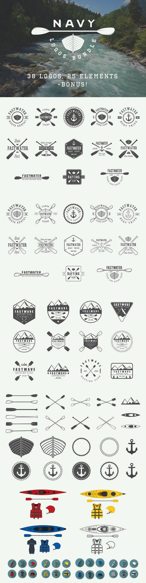 Set of vintage navy emblems. Sport Icons. $19.00