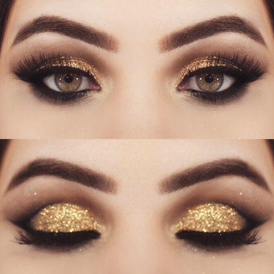 Shimmery gold smokey cat eye makeup