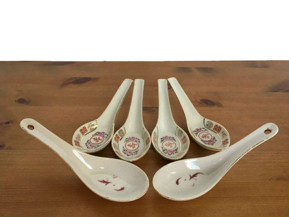 Asian rice and soup spoons vintage set of 6 ceramic serving