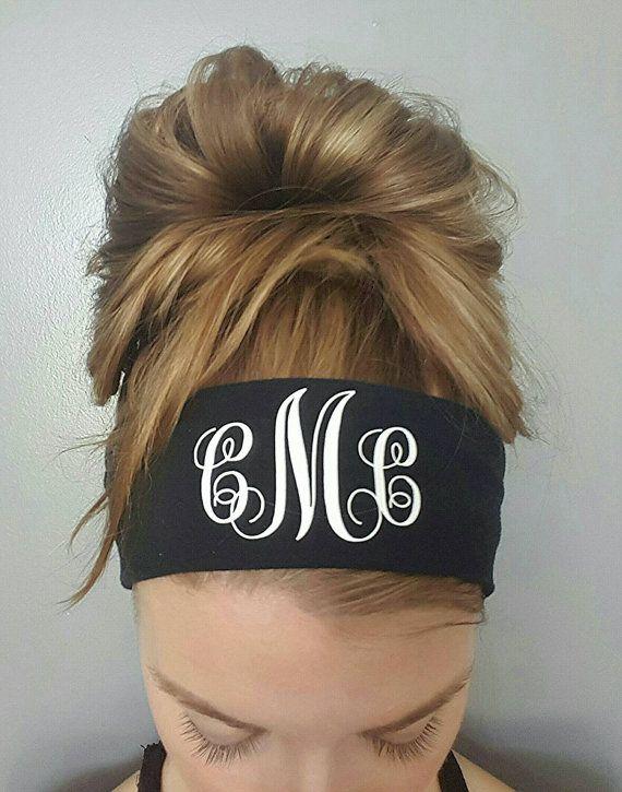 Monogram yoga headband / Monogram  sweat by GirlyLittleGoodies