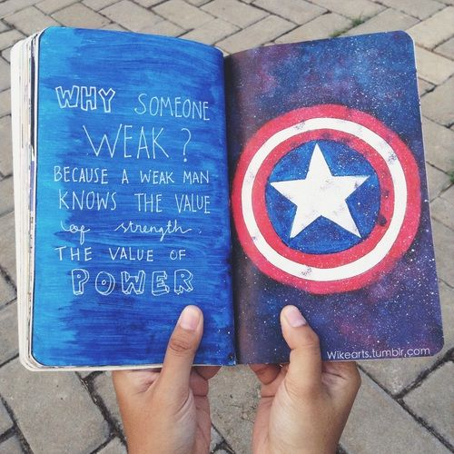 captain america, wreck this journal, and WTJ image