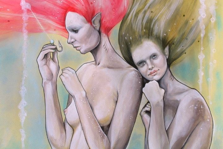 """Change - #FaberCastell on paper. Through life -  you are often represented a """"hook"""" - not knowing its outcome; yet knowing it will bring you change - having to choose the unknown can be frightening. But sometimes you have to let you get dragged away - when you feel ready.  #sisters"""