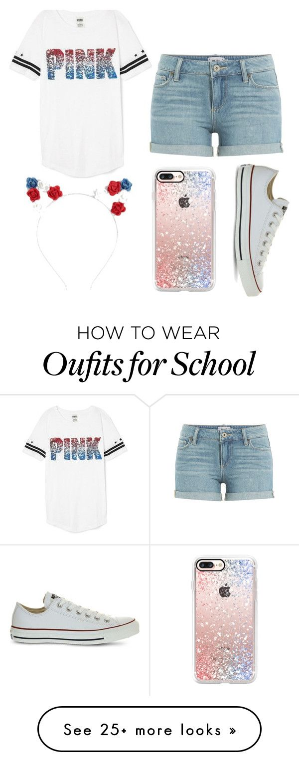"""""""School event"""" by gretchenlover on Polyvore featuring Victoria's Secret, Paige Denim, Converse and Casetify"""
