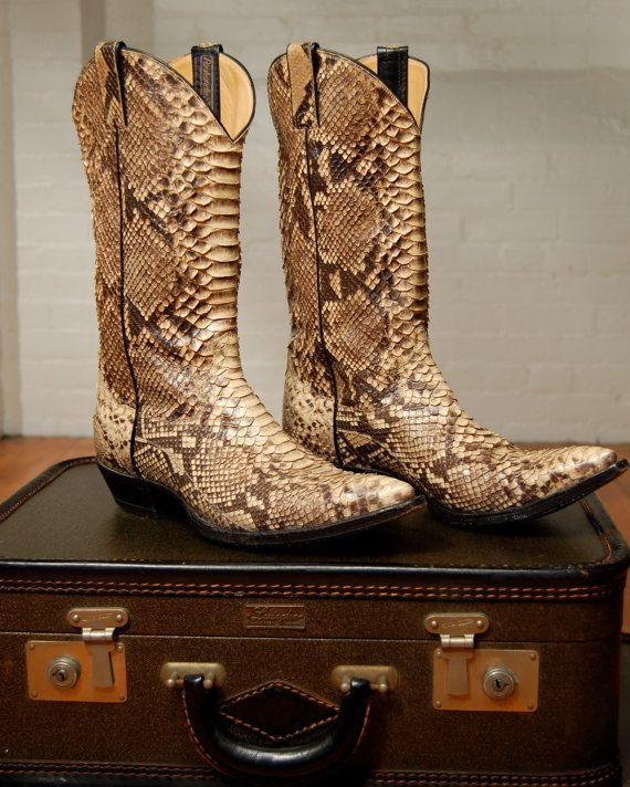 vintage snakeskin cowboy boots by expvintage on Etsy, $195.00