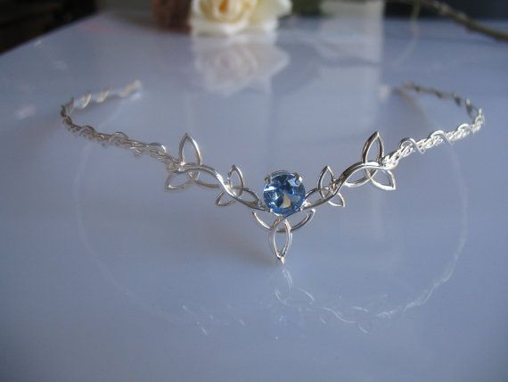 Celtic Trinity Knot Circlet,  Wedding Headpiece, Bridal Tiara, Aquamarine Gemstone, Sterling Silver, Handmade