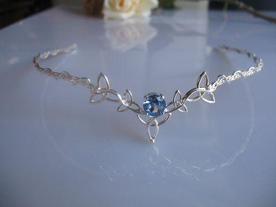 Celtic Trinity Knot Circlet, Wedding Headpiece, Bridal Tiara, Aquamarine Gemstone, Sterling Silver, Handmade, Price: $229.00